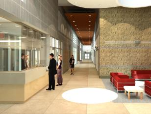 Interior - View from Lobby Toward Classroom Wing Corridor