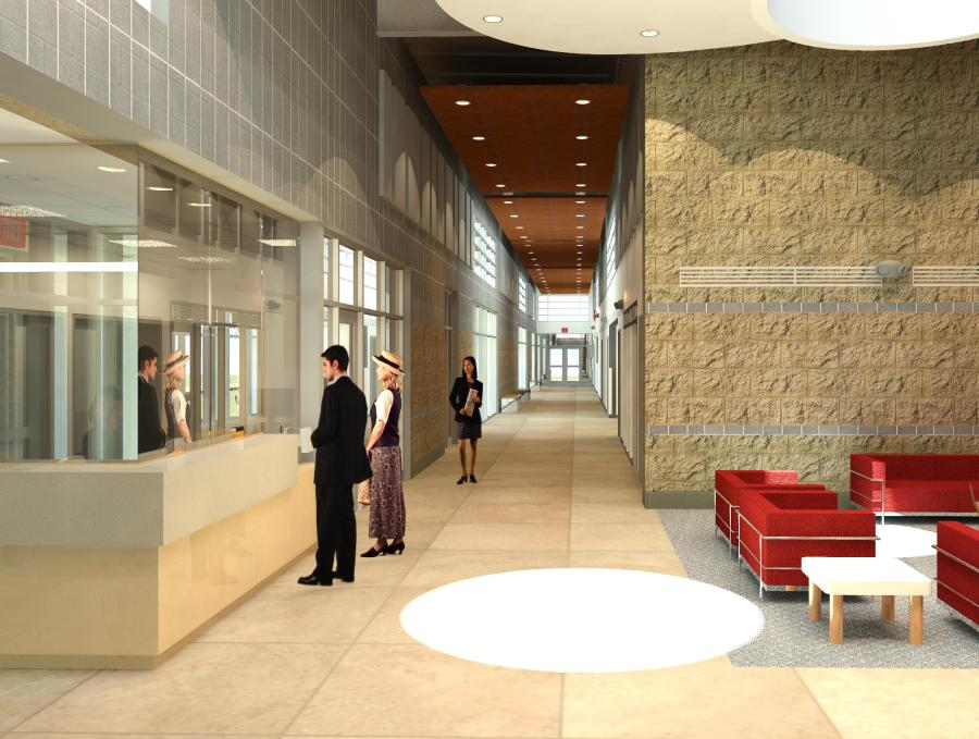 Interior - View from Lobby Toward Classroom Wing Corridor